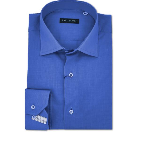 Camicia Fil à fil azzurra 100% cotone Regular Fit