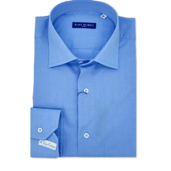 Camicia Fil à fil celeste 100% cotone Regular Fit