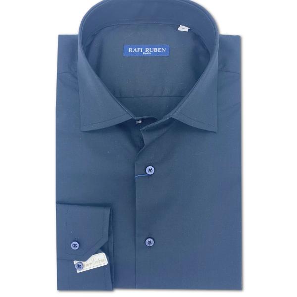 Camicia Tela liscia Blu 100% cotone Regular Fit