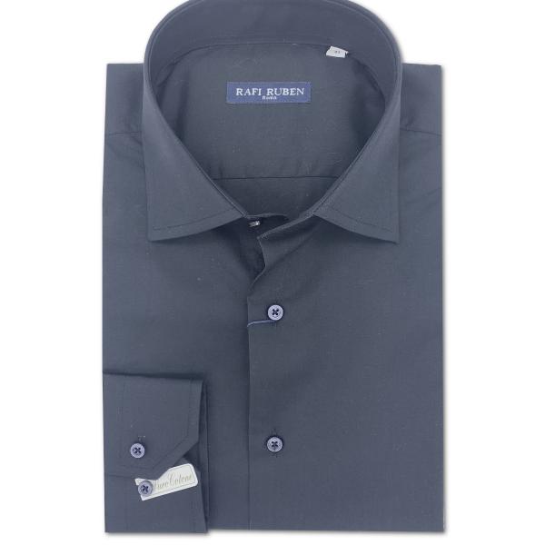 Camicia Tela liscia Nera 100% cotone Regular Fit