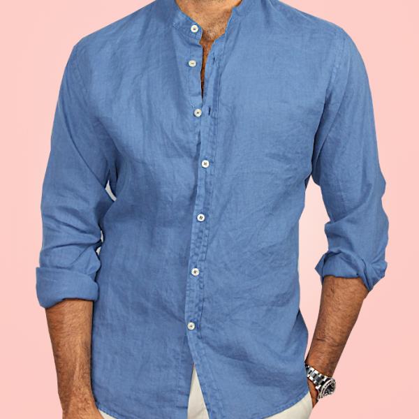 Camicia Puro Lino Coreana Blu Chiaro