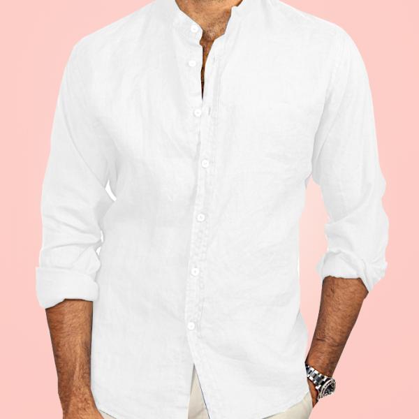 Camicia Puro Lino Coreana Bianca