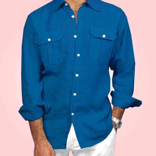 Camicia in Puro Lino sport Blu chiaro