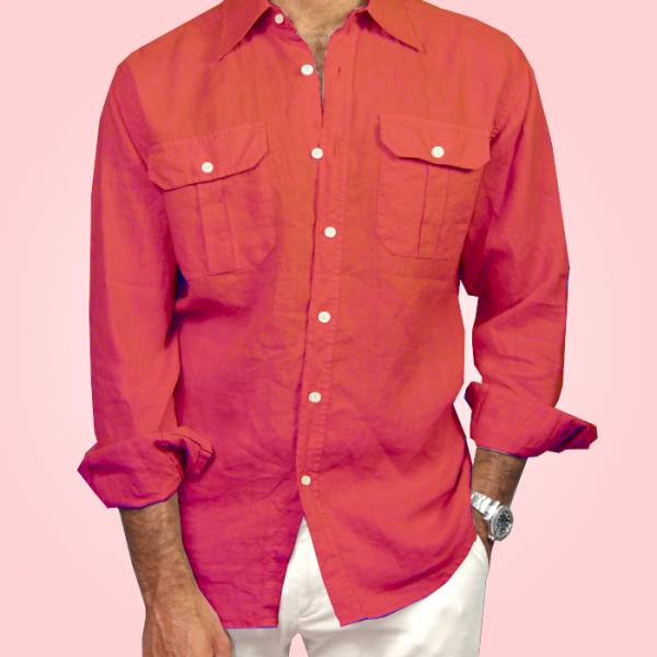 Camicia in Puro Lino sport Rossa