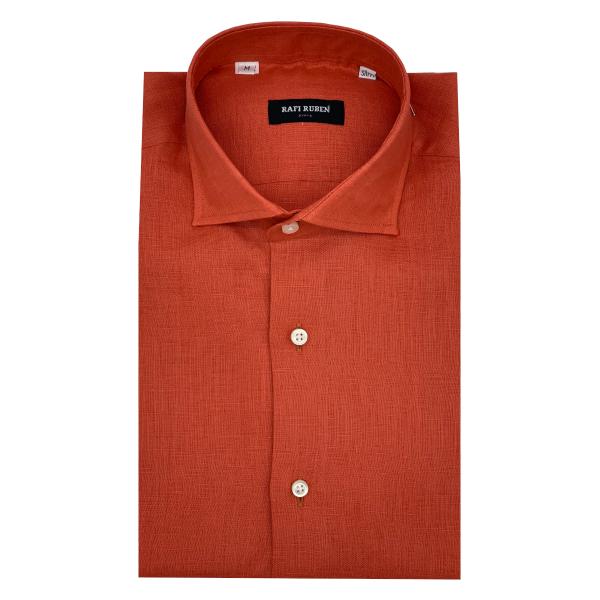 Camicia Lino Prestige Arancio Moda slim